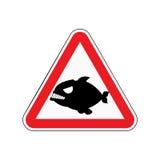 Piranha προσοχής Κίνδυνοι του κόκκινου οδικού σημαδιού Αρπακτικά ψάρια Caut ελεύθερη απεικόνιση δικαιώματος