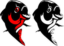 Piranha. Vector illustration of a fish. Red, black and white Stock Images