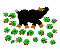 Piranha attacking a bull stock image