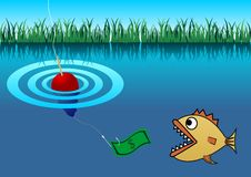 Piranha and buoy Royalty Free Stock Image