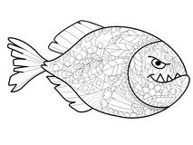 Piranha Coloring vector for adults Stock Images