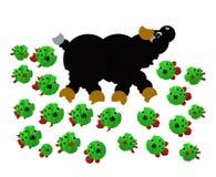 Piranha die een stier aanvalt royalty-vrije illustratie