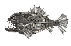 Piranha do estilo de Steampunk imagens de stock royalty free
