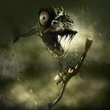 Piranha do monstro e um mergulhador ilustração do vetor