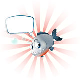 A piranha with an empty callout. Illustration of a piranha with an empty callout on a white background Stock Images
