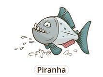 Piranha fish cartoon vector illustration Royalty Free Stock Images