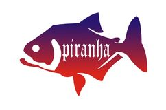 Piranha fish. Describes the dangers of piranha fish with a blend of red and purple Royalty Free Illustration