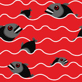 Piranha in ocean. Bloody water with marine predator. Red Waves o Royalty Free Stock Photography