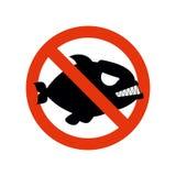 Piranha proibida Pare peixes Caráter de proibição vermelho Striketh Foto de Stock Royalty Free