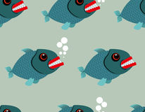 Piranha seamless pattern. Toothy fish  background. Terribl Stock Image