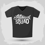 Piranha Squad - vector emblem t-shirt print template Royalty Free Stock Photography