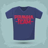 Piranha Team - vector emblem, shirt print template Royalty Free Stock Photo