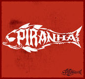 Piranha vector lettering with the shape of a fish Stock Image