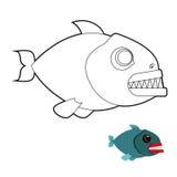 Piranhafärgläggningbok Ruskig havsfisk med stora tänder Angr Royaltyfria Bilder