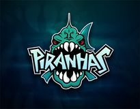 Piranhas emblem logo for sports team. Modern badge mascot design  on atmospheric background Royalty Free Stock Image