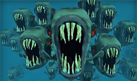 Piranhas, Nightmare, Fish Swarm Royalty Free Stock Photography