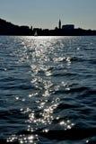 Pirano从海中被看见的` s城市剪影  免版税图库摄影