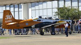 T-27 Toucan with 30th years of commemorative service in Brazilian Air Force royalty free stock photography