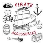 Piratów akcesoria Ilustracja Wektor