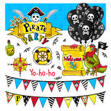 Piratów partyjni elementy wektorowi na białym tle Zdjęcie Royalty Free