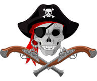 Piratów pistolety i czaszka ilustracji