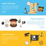 Piratów skarby i denni przygoda wektoru sztandary ilustracja wektor