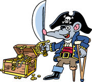 PiRat. A rat is dressed up as a pirate Royalty Free Stock Photography