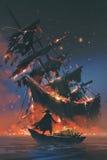 Pirat auf Boot mit dem Schatz, der sinkendes Schiff betrachtet Stockbilder