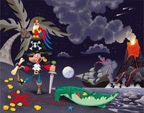 Pirat auf der Insel in der Nacht. Stockbild