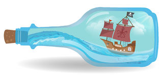Pirat boat in a bottle on white. Vector royalty free illustration