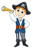 Pirat boy. The cute boy in a costume of the pirate. Isolated on white. Vector sketch illustration Stock Photos