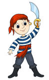 Pirat boy. The cute boy in a costume of the pirate. Isolated on white. Vector sketch illustration Stock Images