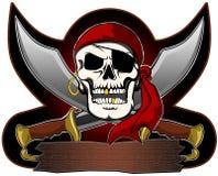 Pirat czaszka z kordzika znakiem Zdjęcie Stock