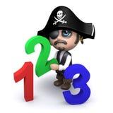 Pirat 3d lernt, wie man zählt Stockfotografie