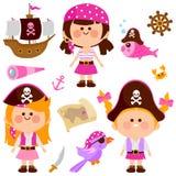 Pirat dziewczyn wektoru kolekcja Obraz Royalty Free