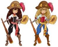 Pirat dziewczyna na skarbu polowaniu Zdjęcia Royalty Free