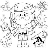 Pirat dziewczyny wektoru set Czarny i biały kolorystyki książki strona Zdjęcia Royalty Free
