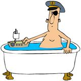 Pirat in einer Badewanne Stockfoto