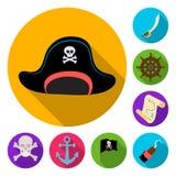 Pirat, flache Ikonen des Seeräubers in der Satzsammlung für Design Schätze, Attribute vector Netzillustration des Symbols auf Lag stock abbildung