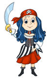 Pirat girl. The cute girl in a costume of the pirate. Isolated on white. Vector sketch illustration Stock Photo