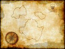 Pirat mapa na rocznika papierze Fotografia Royalty Free