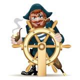 Pirat met een stuurwiel Royalty-vrije Stock Foto