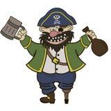 Pirat mit einem Becher und einer Flasche Rum Stockbilder