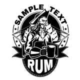 Pirat mit einem Glas Rum stock abbildung