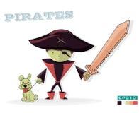 Pirat mit einem Hund, auf weißem Hintergrund Kinderillustrationskarikatur Stockbilder