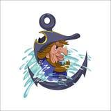 Pirat mit einem Papageien lizenzfreie abbildung