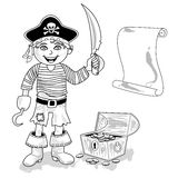 Pirat mit Kartenentwurf Stockbilder