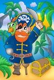 Pirat mit Papageien- und Schatzkasten vektor abbildung