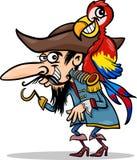 Pirat mit Papageienkarikaturillustration Lizenzfreie Stockfotografie