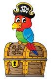 Pirat papuga na skarb klatki piersiowej temacie 1 Obrazy Royalty Free